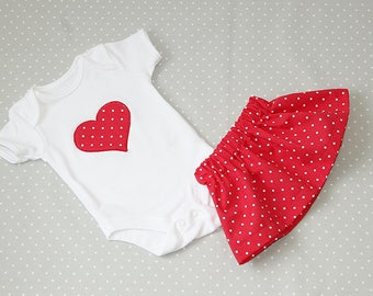 Heart Red and White Polka Dot Embroidered Baby Grow set with Skirt – 100% Cotton Baby Bodysuit