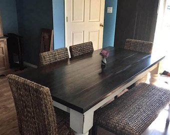Rustic Farmhouse table with turned legs