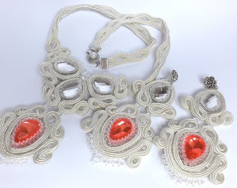 "Wedding set ""Youth"". Necklace and earrings."