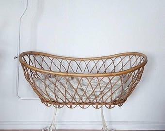Vintage Rattan Crib Bassinet Cradle