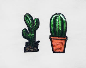 2x large green CACTUS on silver rocks and flower pot Iron On Embroidered sequins Patches Appliques desert nature plant tree