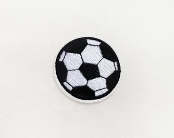 1x soccer ball black white PATCH sport activity custom your jacket, clothes, hat, bag with an Iron On Embroidered Applique