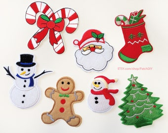 Christmas PATCHES - make your selection : Snowman Tree Santa Claus Stocking Sugar Cane Iron On Embroidered holidays decorations DIY winter