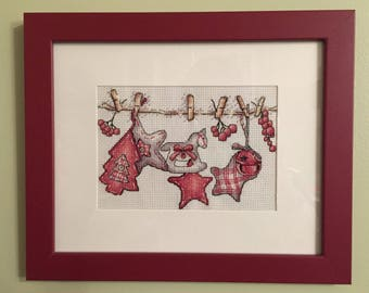 Christmas Clothesline Cross Stitch, Finished