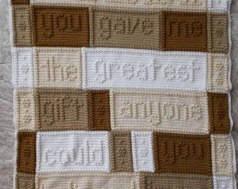 Mom Crochet Word Popcorn Afghan Blanket - Order now for Mother's Day