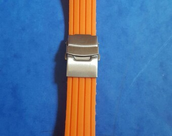 20mm high quality orange rubber strap/band/bracelet with clasp for seiko,citizen and other watches