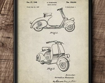 Vespa Scooter · Patent · 1949 · Illustration · Printable · Instant Download #169