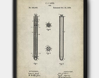 Ballpoint pen · Patent · 1888 · Vintage · Instant Download · Printable #183