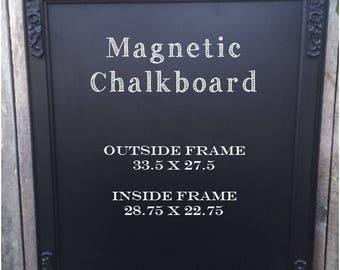 Large Vintage Black Framed Magnetic Chalkboard.. Wedding Chalkboard.. Chalkboard..  Magnetic Chalkboard