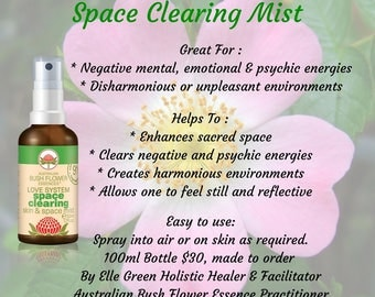 Space Clearing Mist with pure essential oils 100mls