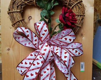 Heart wreath, Valentine wreath, love wreath, red roses, rustic wreath, floral wreath, red wreath