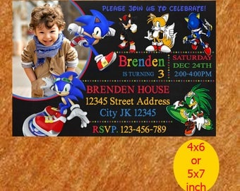Sonic Birthday Invitation, Sonic Invitation, Sonic Birthday, Sonic Party, Sonic Printable, Instant Download