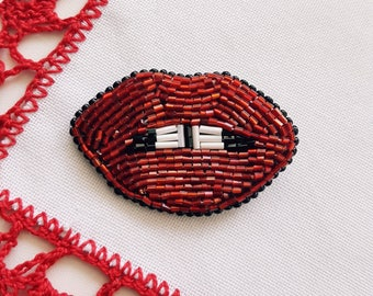 Brooch lips embroidered brooch beaded jewelry embroidery beadwork brooch gift for her brooch pin seed beads brooch