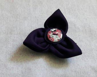 Dark purple flower hair clip