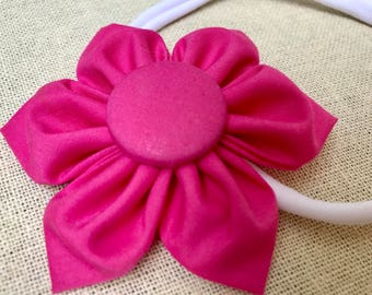 Solid  Bright Pink Hair Flower Fabric Flower Fits Any Size