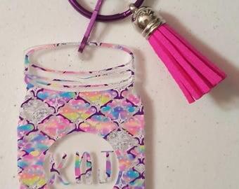 Acrylic mason jar keychain with tassel and initials