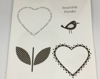 Sweetheart Rubber Stamp set by Stampin Up / Scrapbooking / Card Making Supplies / Art and Crafts / Hearts / Birds / Flower Hearts