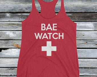 Girl's Bae Watch Tank Top - Funny Beach Shirt for Women