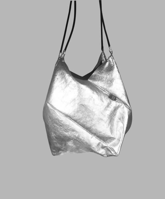 GEOMETRIC refined handbag small shopper silver from Jacron minimalist design