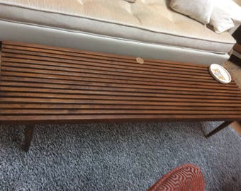 Vintage Slotted Wood Table/Bench