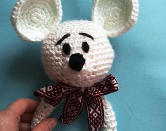 Crochet baby rattle Teething baby toy Crochet mouse Crochet baby toy Baby shower gift