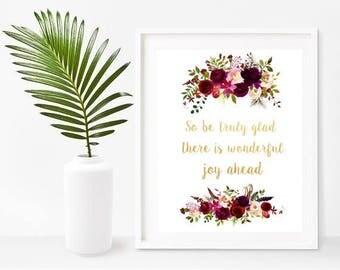 Bible Verse Wall Art, So Be Truly Glad, Christian Decor, Bible Print, Scripture Printable, Home Decor, Wall Decor