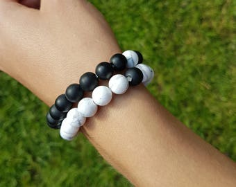 Yin & Yang Friendship Bracelet - Light - Dark - Positive Energy - Friendship Booster - Meditation - Yoga - Stay Connected - Healing Stones