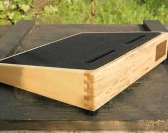 "Riddim Custom Spalted Maple Wood Pedalboard 17""x13"". Guitar Pedal board. Custom Pedal Board"