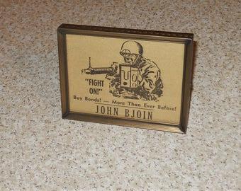 "John Bjoin Stoughton WI Vintage 1945 Fight On Buy War Bonds WWII GI Framed Newspaper Advertising Wall or Shelf Display 3""x4"" - Free Shipping"