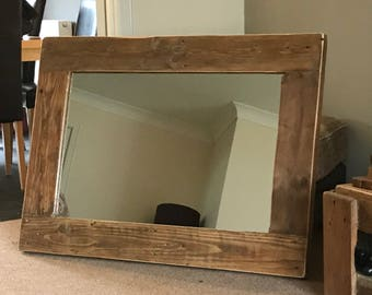 Handmade rustic wood framed mirror