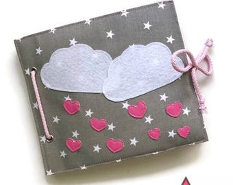Handmade quiet book, textile busy book, activity book, sensory toy on the theme clouds for girls
