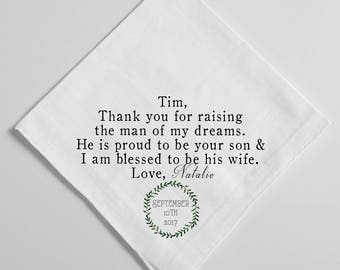 Wedding Handkerchief, Father of the Groom Handkerchief, Father In Law, Dad, Parents Thank you Gift, Printed Handkerchief,  Hankie, 105