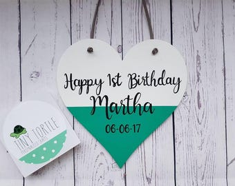 First birthday gift, Personalised birthday gift, Wooden heart, Heart plaque, Unique gift, Handpainted