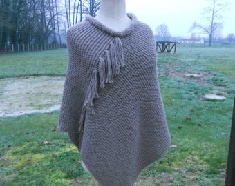 Poncho 65 wool 35 light brown Alpaca