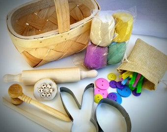 Spring Easter Basket Bunny Chick Egg Play Dough Kit Montessori Playdoh toy w/ Reggio Emilia inspired Loose Parts Open Ended Toy Kids Gift