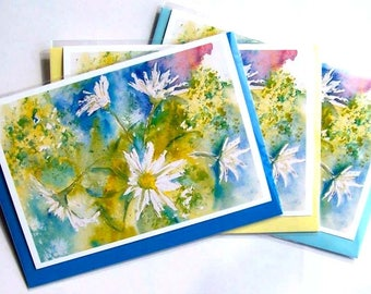 Spring Bouquet Spring Flowers Daisies Vibrant A6 Blank Greetings Card from an Original Watercolour Painting