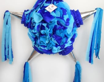 Floral star Piñata with 5 tips in silver/blue