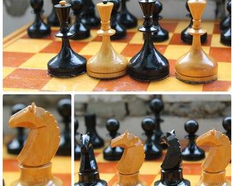 Vintage chess set USSR 1960-70s  // Soviet chess set // Wooden chess set // chess game, outdoor game, vintage chess, gift