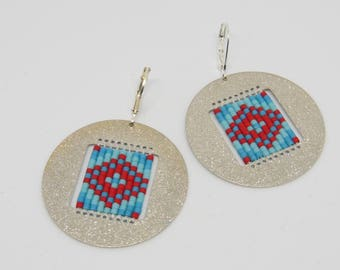 Silver metal Medallion - red and turquoise earrings