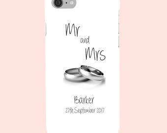 Personalised Wedding, His, Hers, Mrs Mrs - White Gold - Silver Wedding Rings - Protective Glossy Phone Cover Case. iPhone  Samsung Galaxy GS