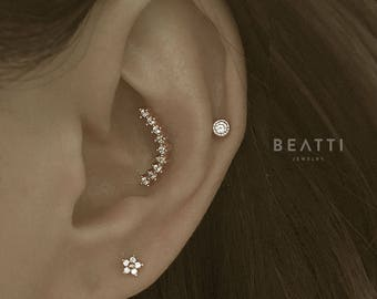 Curved Bar Nine Studs Piercing /Conch earring/Helix earring/CZ piercing/CZ Stud/Cartilage earring/ bar piercing