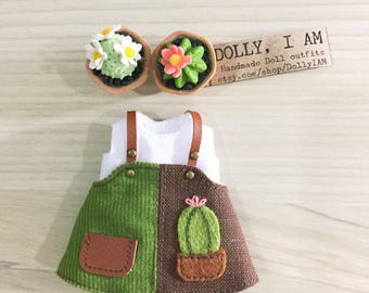 Lovely Cactus Overall  for BJD Dolls Lati Yellow/PukiFee bjd | Gardener Series BiB