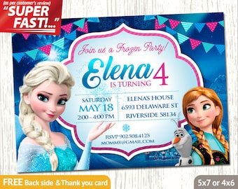 FROZEN INVITATION, Frozen Birthday Invitation, Frozen Party Invitation, Frozen Invite, Elsa Invitation, Free Frozen Thank You Card, v1g