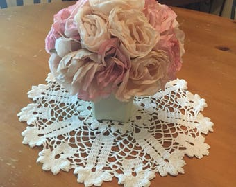 Beautiful Vintage White Round Crochet Floral Doily 13""