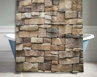 High Quality Stone Rock Wall Shower Curtain Vintage Retro Bathroom Decor Home Decor