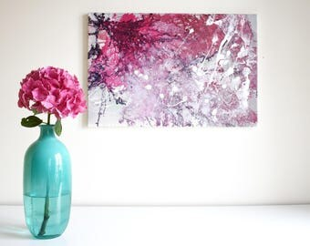 Abstract painting 'Heart & brain', ORIGINAL, acrylic on canvas, free shipping, red, pink, white, grey, mint, gradient