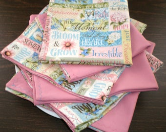 Napkins Inspirational.  Encouraging Words and Phrases in Pastel Colors on One Side, Backed by Complementary Mauve on the Reverse Side