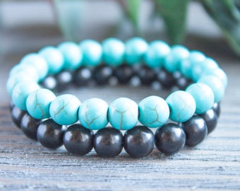 Couple Bracelets Long Distance Relationship Matching Bracelets Blue Turquoise Men Black Beads His and Her Gay Couples Jewelry Friendship