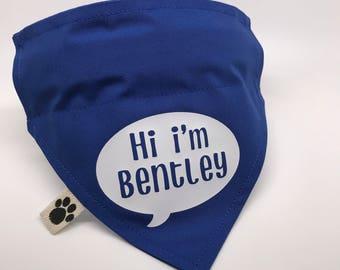 Personalised Handmade Dog Bandana (Name in Speech Bubble)