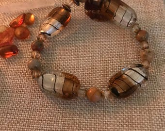 Strength, energy , passion, nurturing- Lace jasper , glass beads , reall copper